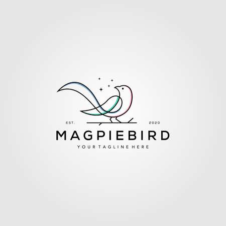 line art magpie bird logo vector symbol illustration design