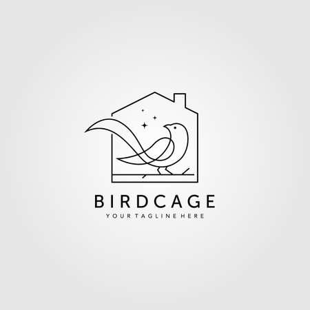 line art bird cage logo vector illustration design, minimalist bird house logo