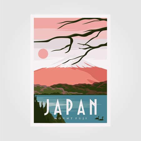 mount fuji background poster, japanese vintage poster vector background illustration design