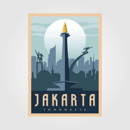 monument national jakarta vintage poster vector symbol illustration design