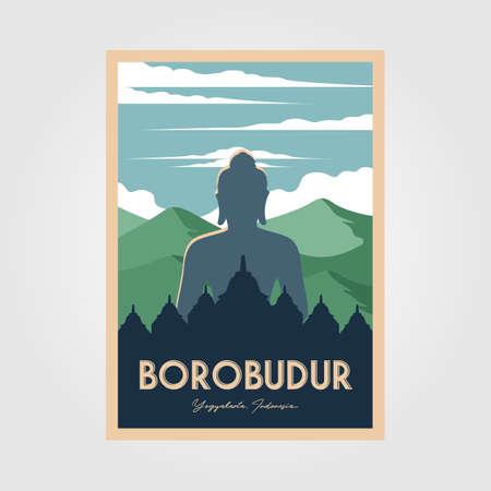 the magnificent borobudur temple vintage poster vector wonderful indonesia illustration 向量圖像