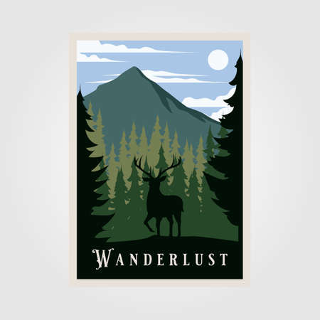 national park wanderlust vintage poster vector illustration design, wild deer background Ilustrace
