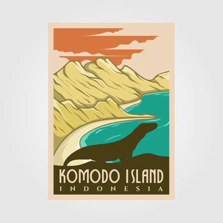 komodo island vintage poster vector national park illustration design, travel poster design