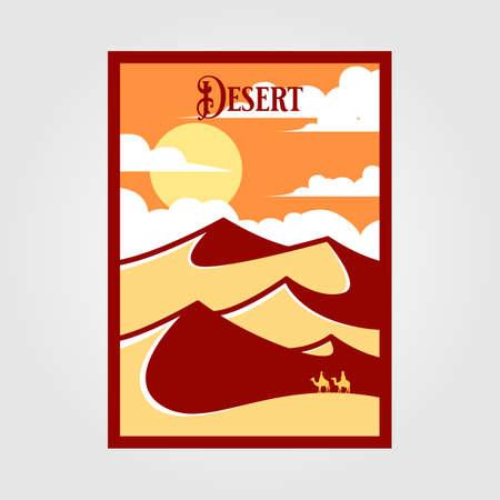 desert landscape view vintage poster vector illustration design