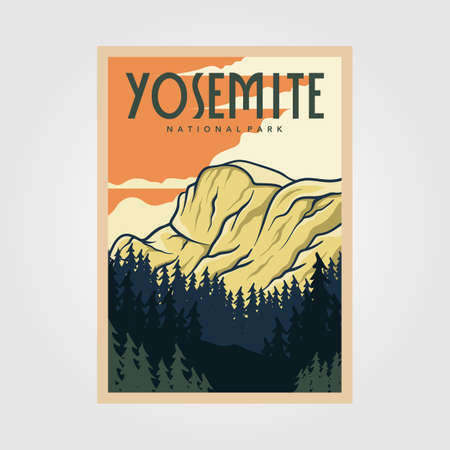 yosemite national park vintage poster outdoor vector illustration design