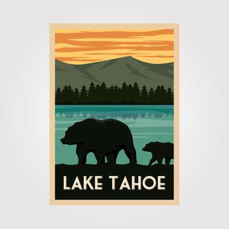 lake tahoe national park vintage poster outdoor vector illustration design, wild bear poster Çizim