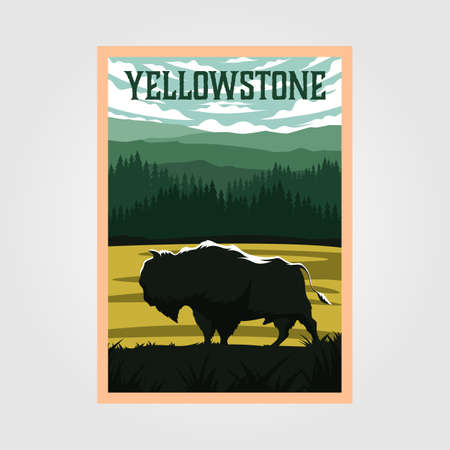 bison on yellowstone national park vintage poster vector illustration, travel poster design