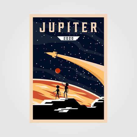 jupiter poster background illustration, space vintage poster vector illustration design
