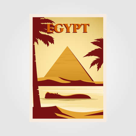 egypt vintage poster illustration design with pyramid and nile rivers background design