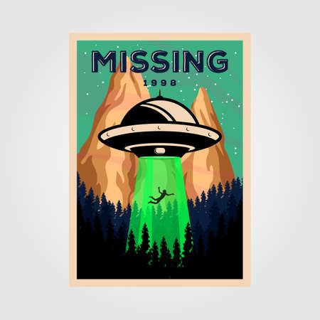 missing people with unidentified flying object vintage poster vector illustration design. science background design Çizim