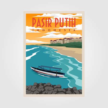 pasir putih anyer beach vintage poster illustration design, indonesian beach poster design Çizim