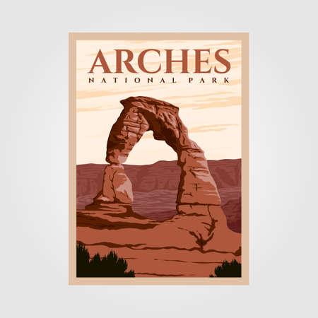 arches national park outdoor adventure vintage poster illustration designs Illustration