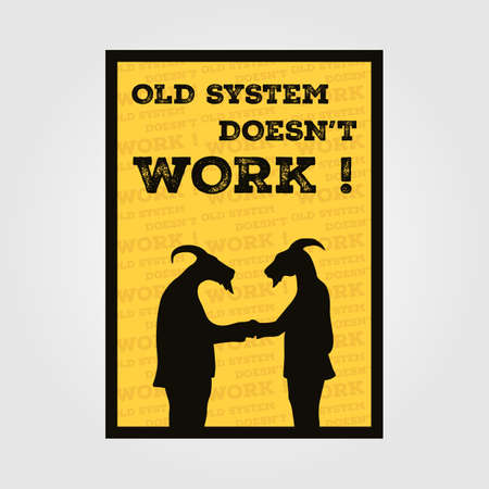 Two Silhouette goat in suit handshake vintage poster , posters to criticize the system