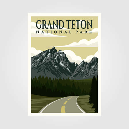 grand teton national park vintage poster illustration design, travel poster design