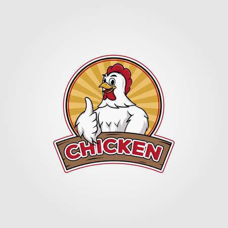 chicken logo vector illustration design, chicken cartoon on badge design