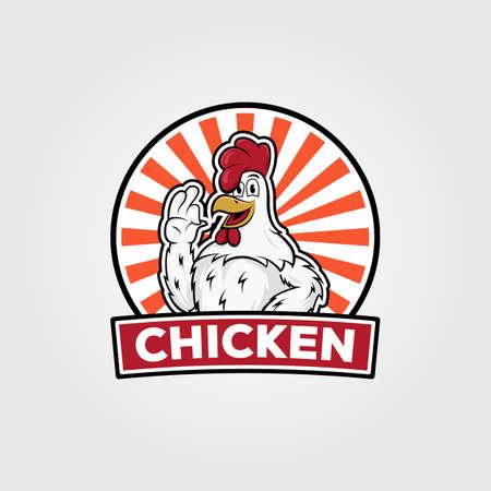 chicken vintage logo vector illustration design, chicken cartoon on badge design