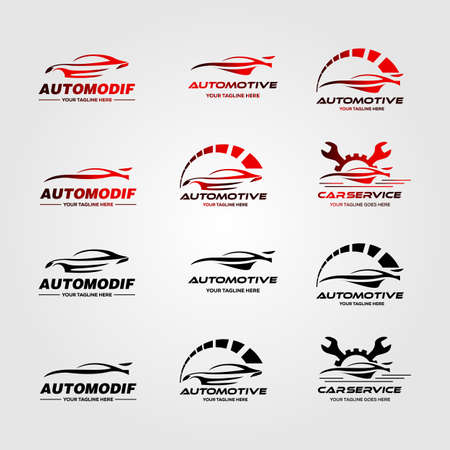 set of car automotive logo vector illustration design Çizim