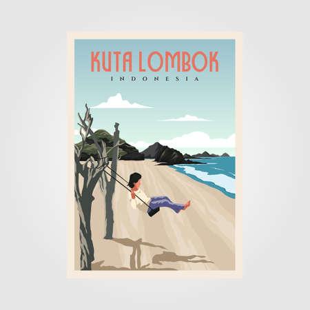 kuta beach lombok vintage poster design, indonesian travel poster design