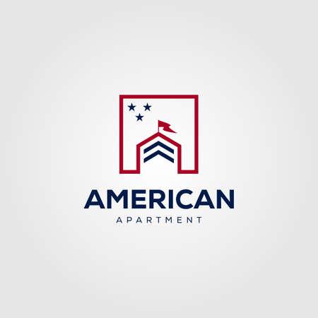 real estate building house logo vector illustration design, american flag mortgage symbol design