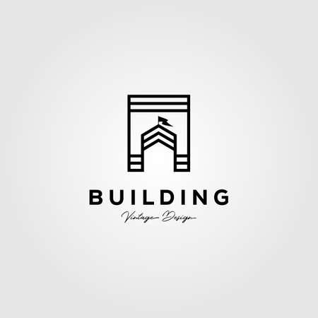 real estate building logo vector illustration design, line art house