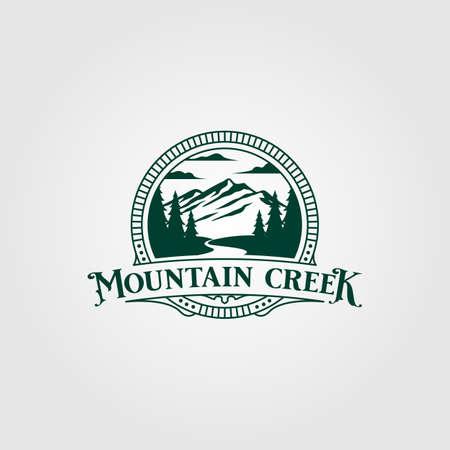 creek and mountain vintage vector illustration design, vintage outdoor design Ilustración de vector