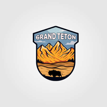 grand teton national park vintage illustration design