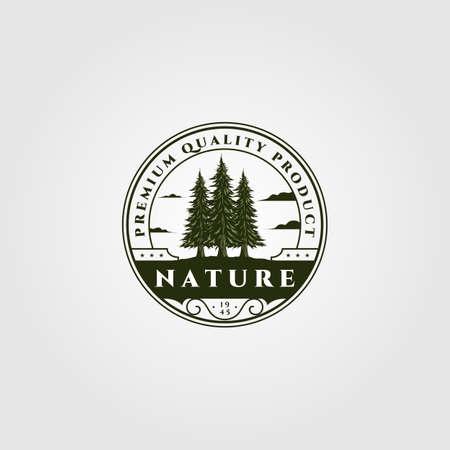 pine tree emblem vector illustration design, vintage spruce badge design