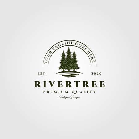 river pine tree vintage logo vector illustration design
