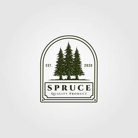 spruce badge vector illustration design, vintage pine tree logo design
