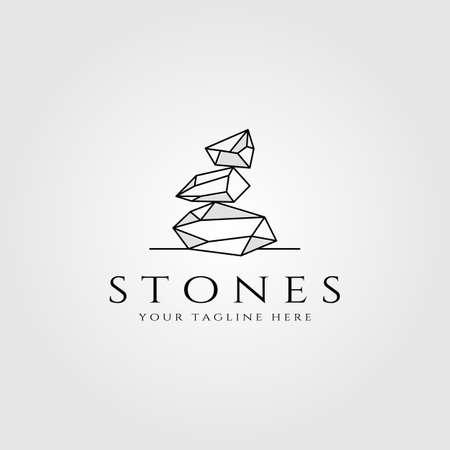 stone logo line art vector illustration design Logos