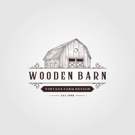 wooden barn logo vintage illustration design, vintage farm logo design