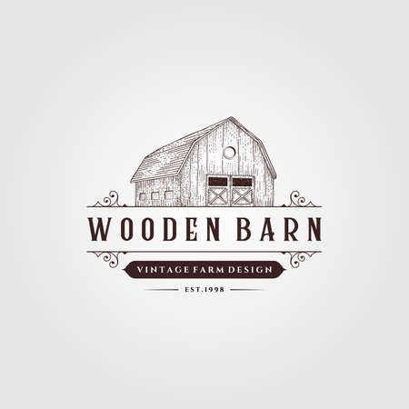 wooden barn logo vintage illustration design, vintage farm logo design
