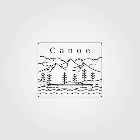 line art canoe landscape vector illustration design
