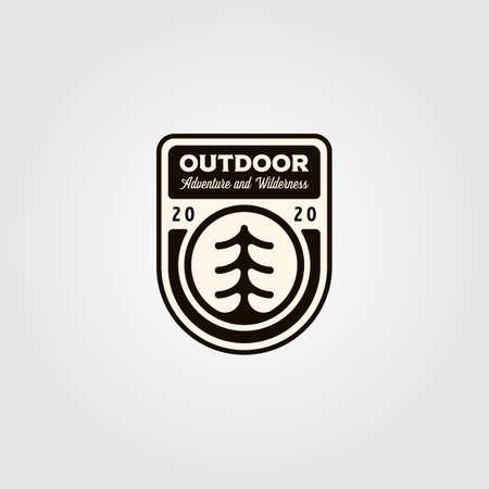 pine tree outdoor symbol vector illustration design, vintage outdoor emblem patch design