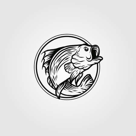 bass fish circle logo vintage vector template illustration design