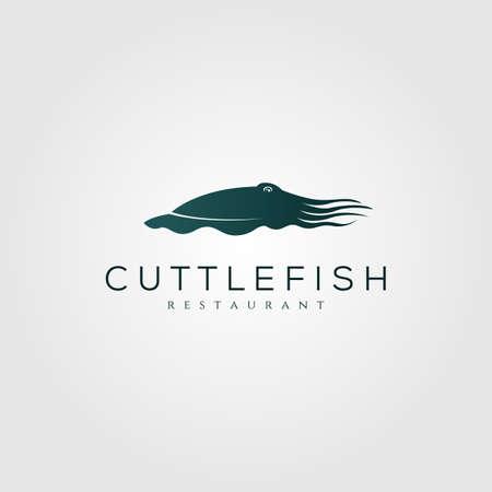 cuttlefish  vintage silhouette vector illustration design