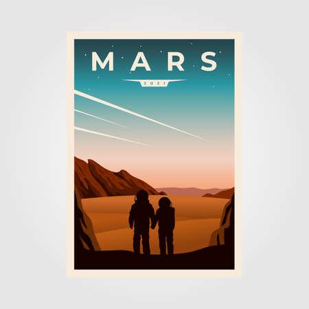 mars fantastic poster background illustration, astronaut couples space vintage poster illustration design
