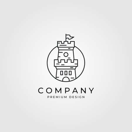 line art castle logo minimalist vector illustration design