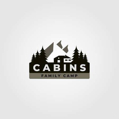 cabin vintage vector illustration design with mountain landscape illustration Illusztráció