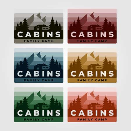 set of cabin vintage vector illustration design