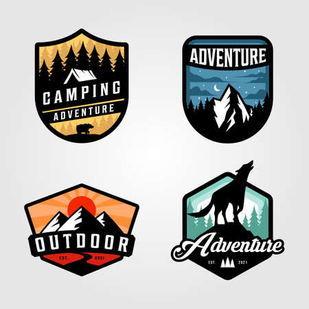 set of adventure camping vector outdoor illustration design