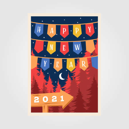happy new year background poster retro illustration vector design Illusztráció