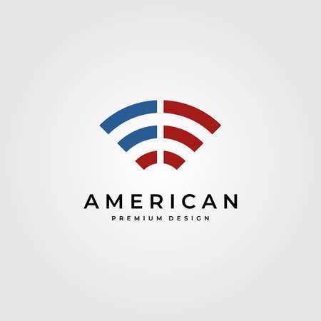 signal wifi logo symbol with american flag symbol vector illustration design