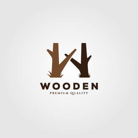 tree trunk wooden logo vector illustration design with letter w symbol