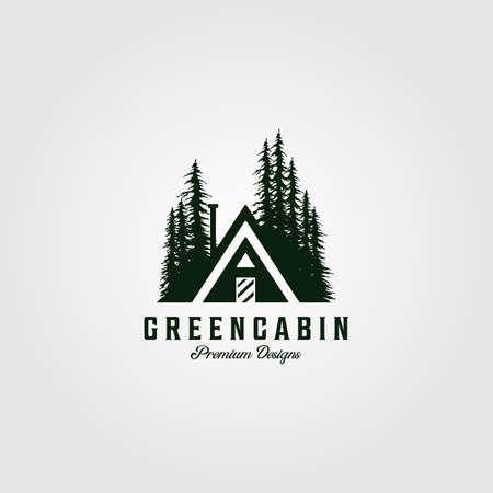 green cabin vintage logo vector illustration design with pine tree symbol design