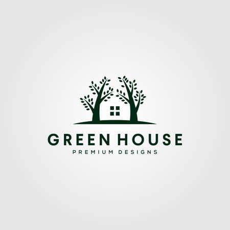 green house nature tree logo vector symbol illustration design