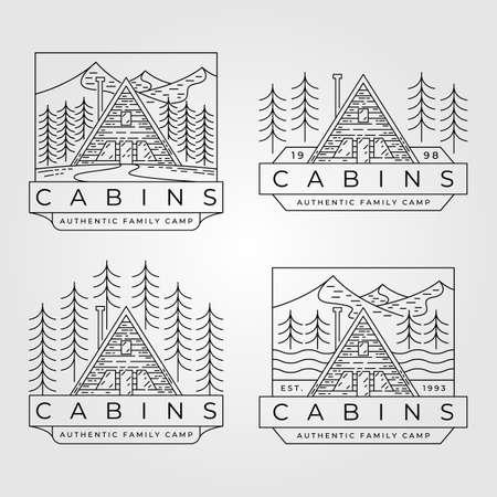 cabin line art logo set vector minimalist illustration design