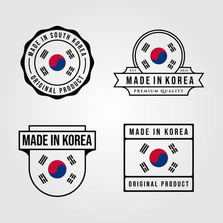 made in korea logo set vintage symbol vector illustration design