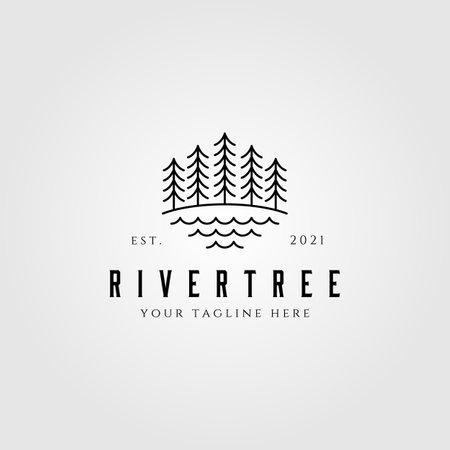 evergreen pine tree line art nature vintage vector illustration design