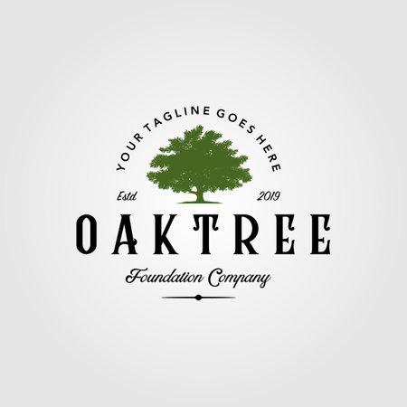 vintage oak tree logo retro illustration emblem label design Illusztráció